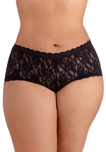 Hanky Panky Inspiring Start Undies in Noir - Plus Size by Hanky Panky - Sheer, Knit, Lace, Black, Solid, Lace