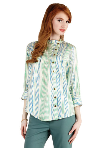 Lauren Moffatt Organized Agenda Top by Lauren Moffatt - Woven, Mid-length, Green, Blue, White, Print, Buttons, Vintage Inspired, 3/4 Sleeve, Best, Green, 3/4 Sleeve, Work