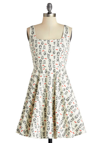Very Charming Dress in Owls - White, Black, Print with Animals, Casual, A-line, Tank top (2 thick straps), Good, Owls, Critters, Cotton, Woven, Short