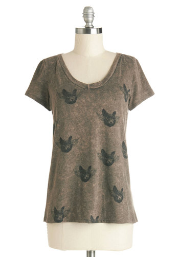 Clowder in the Sky Tee - Brown, Short Sleeve, Knit, Mid-length, Brown, Print with Animals, Casual, Cats, Short Sleeves, Better, Quirky, Critters