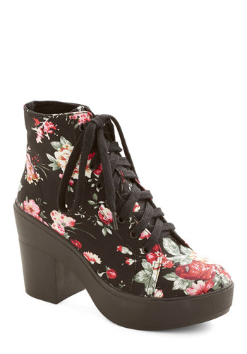 Lyric Inspiration Bootie - Mid, Woven, Black, Multi, Floral, Party, Casual, Good, Better, Platform, Lace Up, Vintage Inspired, 90s, Chunky heel