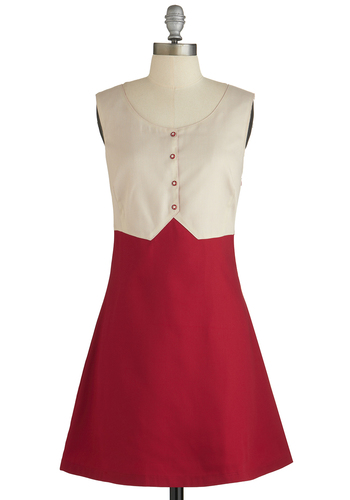 Priceless Poise Dress - Solid, Buttons, Casual, A-line, Twofer, Sleeveless, Better, International Designer, Red, Tan / Cream, Scoop, Woven, Short