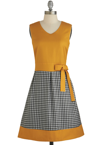 Home Sweet Homey Dress - Yellow, Black, White, Checkered / Gingham, Bows, Casual, Vintage Inspired, A-line, Twofer, Sleeveless, Better, International Designer, V Neck, Woven, Mid-length
