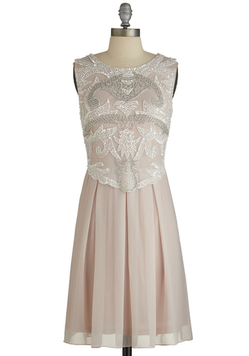 Ornate Entrance Dress - Prom, Pink, Beads, Cutout, Pleats, Sequins, Special Occasion, A-line, Sleeveless, Best, Scoop, Chiffon, Woven, Mixed Media, Mid-length, Vintage Inspired, 20s, 30s, Pastel