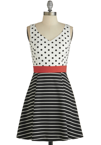 Gallery Galavant Dress - Black, White, Polka Dots, Stripes, Cutout, Casual, A-line, Sleeveless, Good, V Neck, Knit, Mid-length, Red, Show On Featured Sale
