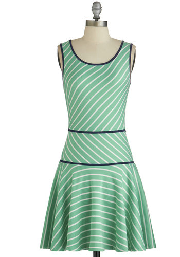 Alma Mater of Fact Dress - Mint, White, Stripes, Trim, Casual, Drop Waist, Sleeveless, Good, Scoop, Short, Knit, Full-Size Run