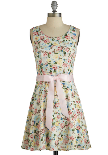 Spring Stroll Dress - Multi, Floral, Cutout, Belted, A-line, Sleeveless, Good, Scoop, Summer, Mid-length, Chiffon, Woven, Sundress, Daytime Party