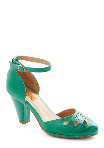 Petal to the Plaza Heel in Emerald by Miz Mooz - Green, Solid, Cutout, Wedding, Party, Holiday Party, Mid, Leather, Work, Vintage Inspired, Variation