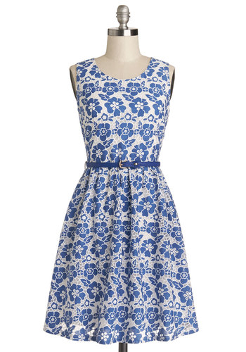 Trellis on the Terrace Dress by Yumi - Floral, Belted, Daytime Party, A-line, Sleeveless, Better, Scoop, Woven, Mid-length, Blue, White, Graduation, Americana
