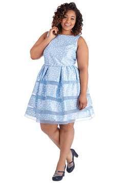 Dinner Party Darling Dress in Blue Bubbles - Plus Size