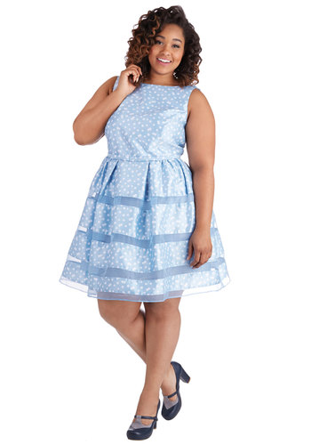 Dinner Party Darling Dress in Blue Bubbles - Plus Size - Woven, Blue, White, Polka Dots, Bows, Wedding, Party, Bridesmaid, A-line, Sleeveless, Better, Boat, Variation, Spring, Prom