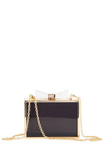 Sweet Structure Clutch - Black, Solid, Bows, Special Occasion, Prom, Cocktail, Black, Gold, Gals, Social Placements