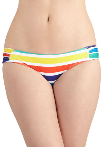 Rainbow Cove Swimsuit Bottom by Beach Riot - Knit, Stripes, Beach/Resort, 80s, Quirky, Summer, Multi, Red, Yellow, Green, Blue, White, Vintage Inspired, Festival, Boho
