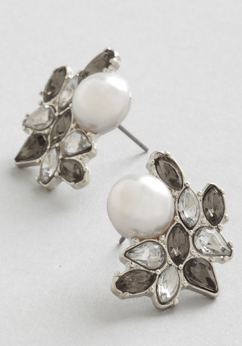 Photo Opulence Earrings in Silver - Grey, White, Solid, Rhinestones, Special Occasion, Wedding, Luxe, Good, Variation, Silver, Bridesmaid, Pearls, Bride