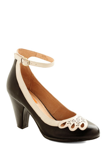 Hum a Happy Tune Heel in Black by Miz Mooz - Black, Solid, Cutout, Wedding, Holiday Party, Mid, Leather, Tan / Cream, Vintage Inspired, Variation