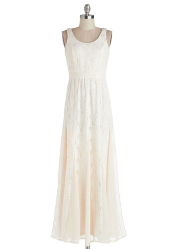 Romantic Storyline Dress - Cream, Lace, Wedding, Bride, Maxi, Sleeveless, Better, Scoop, Summer, Woven, Long