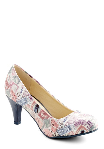 Raise a Post Heel by T.U.K. - Mid, Woven, Multi, Novelty Print, Party, Quirky, Better