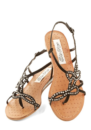 Shimmer in Your Steps Sandal in Black - Low, Leather, Black, Studs, Beach/Resort, Summer, Variation
