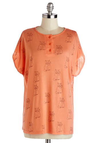 Fond Friends Top - Better, Pink, Short Sleeve, Knit, Mid-length, Orange, Print with Animals, Buttons, Casual, Cats, Critters
