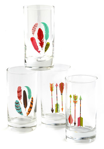 Archery Champ Glass Set - Multi, Multi, Boho, Good, Novelty Print, Summer