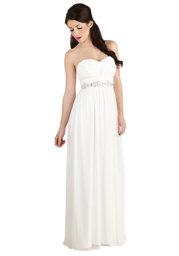Never Spin Better Dress - Chiffon, Woven, White, Solid, Beads, Sequins, Ruching, Special Occasion, Prom, Wedding, Bride, Maxi, Strapless, Better, Sweetheart