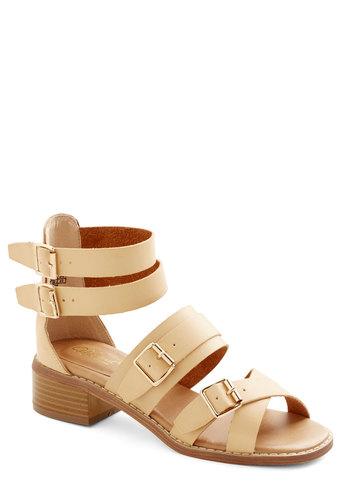 All-Purpose Poise Sandal - Low, Faux Leather, Tan, Solid, Buckles, Daytime Party, Spring, Strappy, Festival, Chunky heel, Summer, Boho