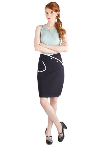 Sailor Swift Skirt - Mid-length, Blue, Solid, Buttons, Pockets, Pinup, Pencil, Nautical, Blue, Press Placement, 50s, High Waist, Spring, Good, Casual