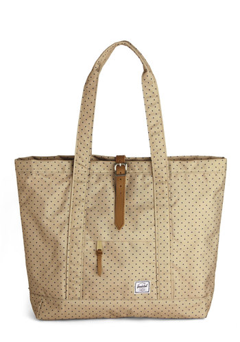 Weekend Market Tote by Herschel Supply Co. - Blue, Polka Dots, Work, Better, Tan, Travel, Graduation, Gals, Maternity, Fall