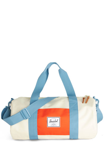 Quick Trip Weekend Bag by Herschel Supply Co. - White, Blue, Solid, Travel, Colorblocking, Better, White, Orange, Woven, Spring, Summer, Work