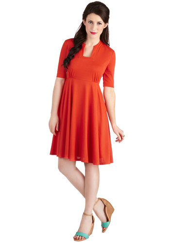 Va Va Vibrance Dress by Myrtlewood - Private Label, Mid-length, Knit, Red, Solid, Pockets, Casual, A-line, Short Sleeves, Better, Exclusives