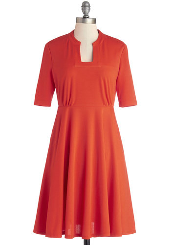 Va Va Vibrance Dress by Myrtlewood - Private Label, Mid-length, Knit, Red, Solid, Pockets, Casual, A-line, Short Sleeves, Better, Exclusives, Show On Featured Sale
