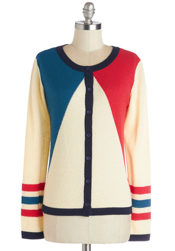 Primary Colorful Cardigan by Dear Creatures - Better, Multi, Long Sleeve, Mid-length, Knit, Multi, Red, Blue, White, Buttons, Nautical, Colorblocking, Long Sleeve