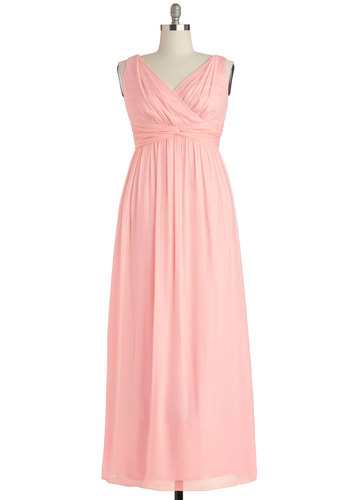 Grand Guest Dress in Rose - Plus Size - Chiffon, Woven, Pink, Solid, Ruching, Special Occasion, Prom, Wedding, Bridesmaid, Maxi, Tank top (2 thick straps), Best, V Neck, Variation, Pastel