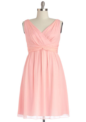 Glorious Guest Dress in Rose - Plus Size - Prom, Wedding, Bridesmaid, Pastel, Chiffon, Woven, Pink, Solid, Special Occasion, A-line, Best, V Neck, Ruching, Sleeveless