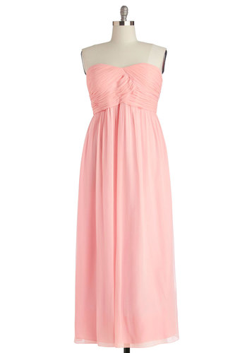 Gliding Through the Garden Dress in Rose - Plus Size - Chiffon, Woven, Pink, Solid, Ruching, Special Occasion, Prom, Wedding, Bridesmaid, Maxi, Strapless, Best, Sweetheart, Variation