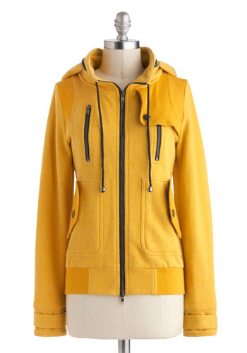 Leipzig Hoodie in Mustard - Yellow, Solid, Buttons, Exposed zipper, Pockets, Casual, Long Sleeve, Mid-length, Travel, Winter, Hoodie, Sweatshirt, Basic, Fall, Knit, Yellow, Best Seller, 2