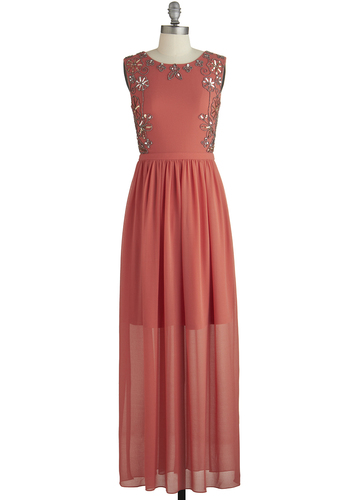Sunset in the Garden Dress - Prom, Coral, Beads, Sequins, Special Occasion, Maxi, Sleeveless, Better, Scoop, Woven, Long, Solid