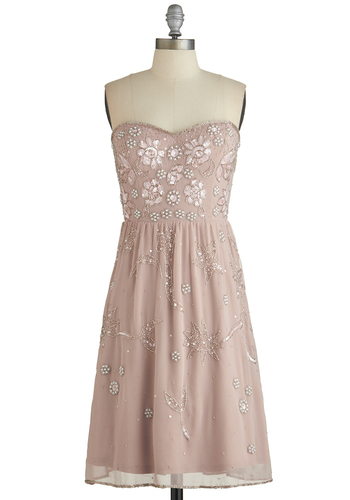 The Best You Can Bead Dress - Prom, Pink, Beads, Pearls, Sequins, Special Occasion, A-line, Strapless, Best, Sweetheart, Wedding, Bridesmaid, Pastel, Mid-length