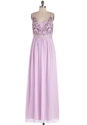 Elegant Enchantment Dress - Maxi, Prom, Pastel, Long, Chiffon, Woven, Purple, Solid, Sequins, Special Occasion, Wedding, Bridesmaid, Spaghetti Straps, Best, Beads
