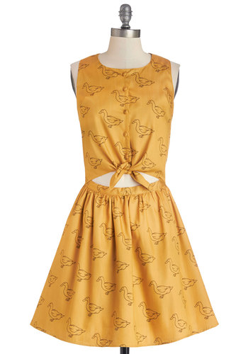Wade 'Til You See This Dress - Yellow, Print with Animals, Buttons, Cutout, Casual, Critters, A-line, Sleeveless, Better, Woven, Mid-length, Vintage Inspired, 50s, 60s, Sundress