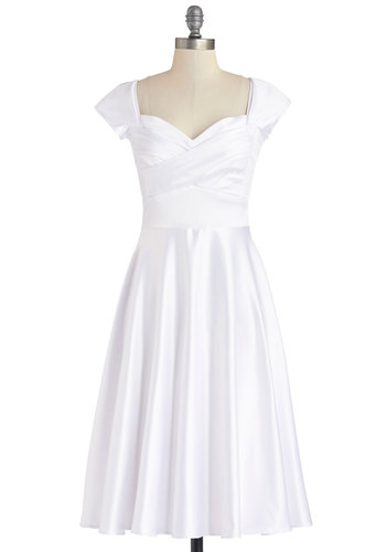 Pine All Mine Dress in Snow by Stop Staring! - White, Wedding, Bride, Variation, Long, Woven, Solid, Special Occasion, A-line, Cap Sleeves, Better, Vintage Inspired, 50s, Sweetheart, Top Rated