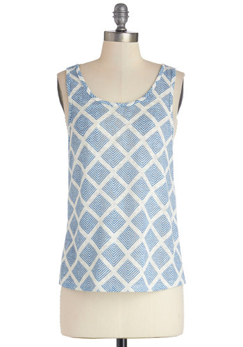 In the Mix-In Top in Diamonds - Blue, Sleeveless, Sheer, Knit, Mid-length, Blue, Tan / Cream, Print, Casual, Tank top (2 thick straps), Variation, Scoop, Spring, Summer, Good