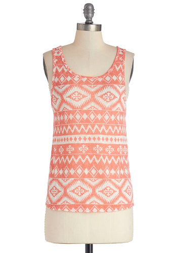 In the Mix-In Top in Southwestern - Pink, Sleeveless, Sheer, Knit, Mid-length, Pink, White, Print, Casual, Festival, Tank top (2 thick straps), Variation, Scoop, Pastel, Spring, Summer, Good, Boho