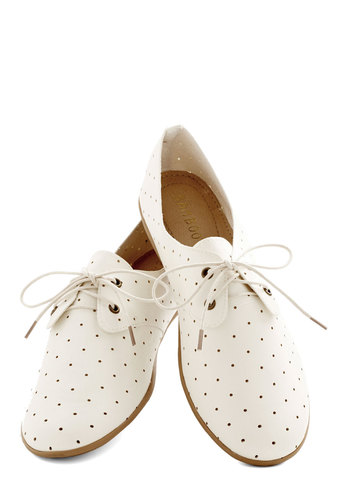 Read Cloud-Pleaser Flat - Flat, Faux Leather, White, Polka Dots, Work, Daytime Party, Menswear Inspired, Good, Lace Up