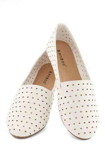 Classic Example Flat - Flat, Faux Leather, White, Solid, Cutout, Casual
