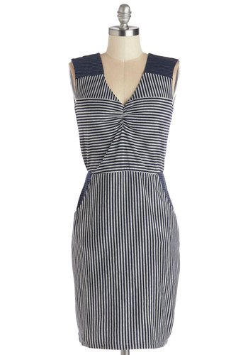 Lunch Break Date Dress by Yumi - Blue, White, Stripes, Pockets, Casual, A-line, Sleeveless, Better, V Neck, Cotton, Knit, Mid-length, Nautical