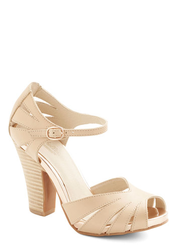 On the Floor Heel in Tan by Seychelles - Cutout, Wedding, Daytime Party, Graduation, Bridesmaid, High, Best, Peep Toe, Chunky heel, Leather, Cream, Solid, Variation