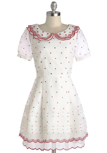 Best Birthday Ever Dress by Nishe - White, Red, Polka Dots, Pleats, Scallops, Vintage Inspired, A-line, Short Sleeves, Better, International Designer, Collared, Sheer, Woven, Mid-length, Embroidery, Tiered, Trim, Daytime Party