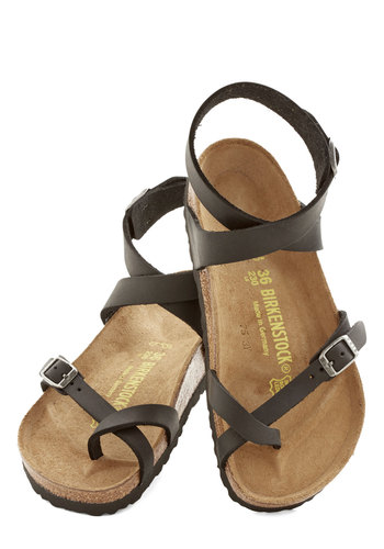 Italian Summer Sandal in Black by Birkenstock - Flat, Leather, Black, Boho, Best, Strappy, Solid, Casual, Festival, Summer, 90s