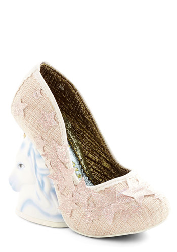 Into the Myths Heel in Pink by Irregular Choice - High, Woven, Pink, Solid, Party, Girls Night Out, Statement, Quirky, Critters, Wedge, Variation